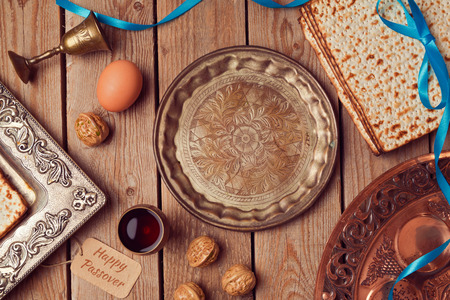 jewish food: Vintage seder plate for jewish holiday Passover. View from above