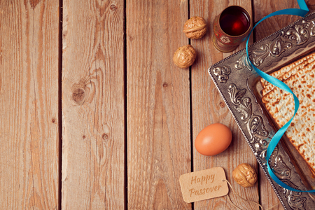 passover: Passover background with matzo, wine and egg. View from above