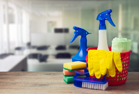 plastic glove: Office cleaning service concept with supplies Stock Photo
