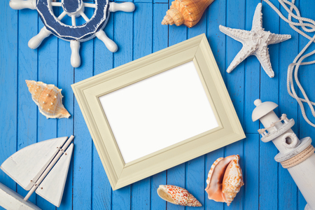 up view: Summer holiday poster frame mock up template. View from above. Flat lay