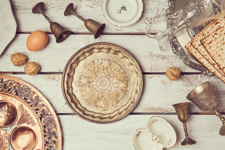 walnut: Jewish holiday Passover background with vintage plate. View from above. Flat lay