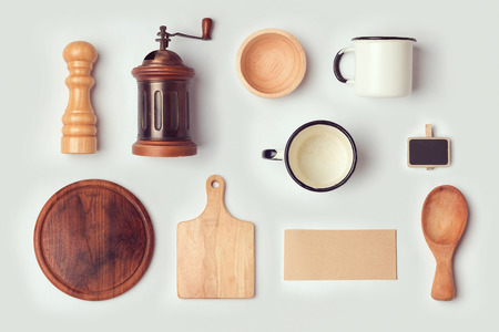 vintage objects: Kitchen mock up template with retro vintage objects. View from above. Flat lay Stock Photo