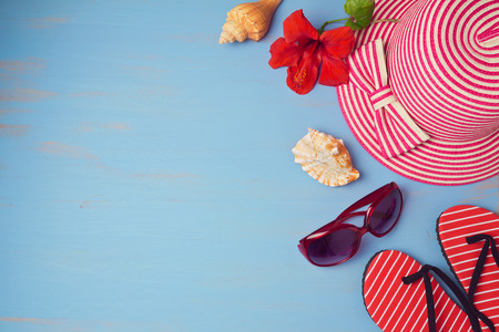 Summer holiday vacation concept  with beach items. View from above. Flat lay