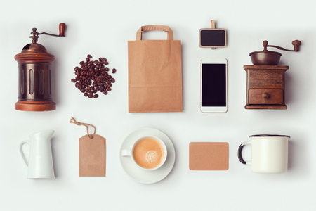 Coffee shop mock up template for branding identity design. View from above. Flat lay 스톡 콘텐츠