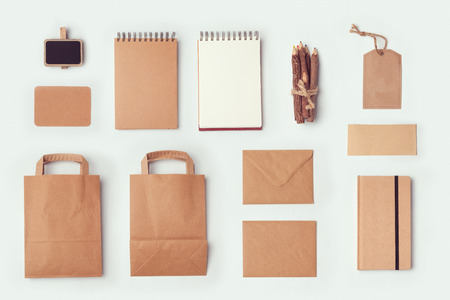 Stationery mock up template for branding identity design. View from above. Flat lay Standard-Bild