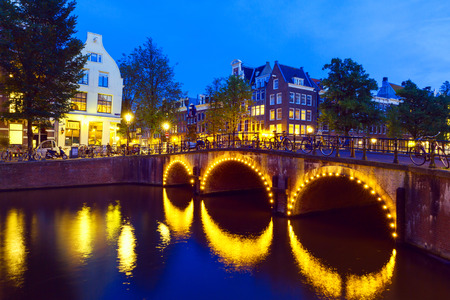 the netherlands: Amsterdam canal and bridge at night, Netherlands