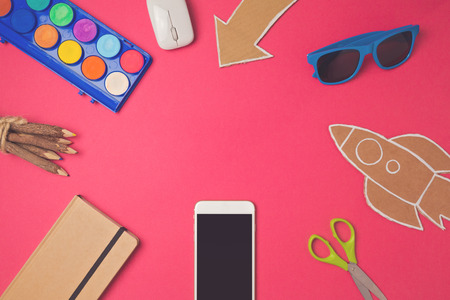 design background: Creative design hero header image. Back to school modern website header background. View from above. Flat lay Stock Photo