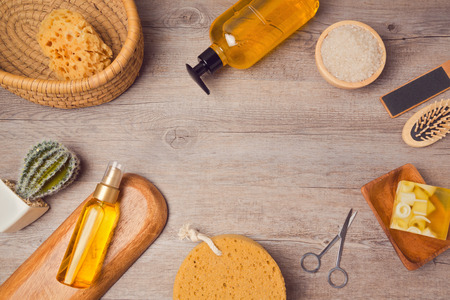 'personal beauty': Spa background with soup and oil. View from above. Flat lay Stock Photo