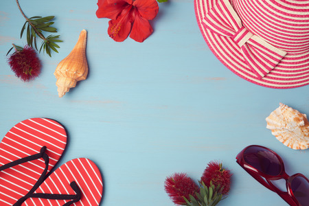 background summer: Summer background with beach items and tropical flowers. View from above. Flat lay Stock Photo