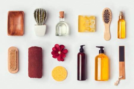 hair shampoo: Bathroom and body care mock up template for branding identity design. View from above. Flat lay