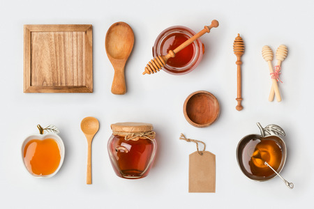 Honey mock up branding template. View from above. Flat lay 스톡 콘텐츠