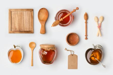 Honey mock up branding template. View from above. Flat lay Standard-Bild