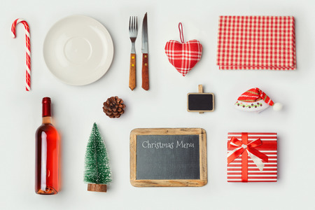Christmas dinner objects for mock up template design. View from above. Flat lay 스톡 콘텐츠