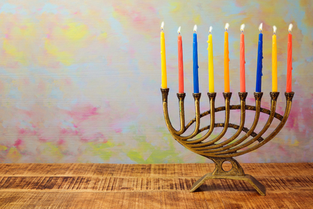Menorah with candles for Hanukkah celebration