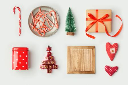 크리스마스 장식 및 템플릿 디자인 mock에 대 한 개체. 위에서 볼. 평평한 평지 스톡 콘텐츠