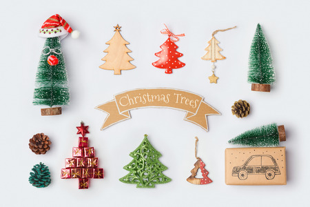 Christmas trees collection for mock up template design. View from above. Flat lay