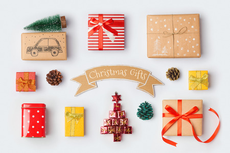 Christmas gift boxes collection for mock up template design. View from above. Flat lay Standard-Bild