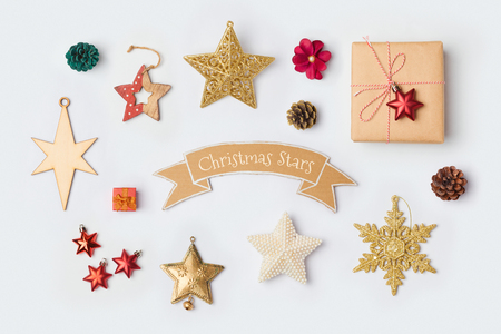 크리스마스 스타 장식 컬렉션 모의 템플릿 디자인. 위에서 볼. 평평한 평지 스톡 콘텐츠