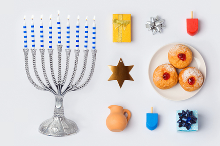 doughnut: Hanukkah menorah and objects for mock up template design.View from above. Flat lay