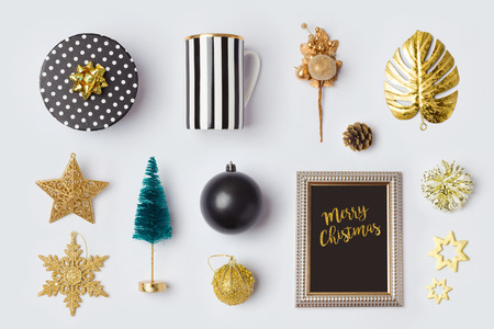christmas decorations and objects in black and gold for mock up template designview from