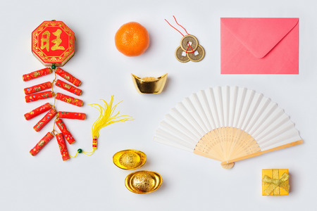 Chinese New Year decorations on white background for mock up template design. View from above. Flat lay