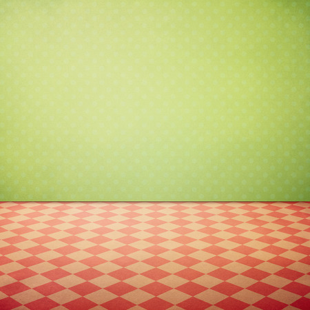 checked: Vintage interior grunge background with checked pink floor and green polka dots wallpaper
