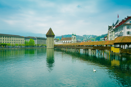 urban landscapes: Cityscape of Lucerne with famous Chapel Bridge and lake Lucerne, Switzerland
