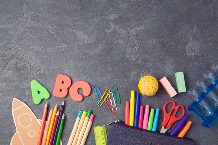 Back to school background with school supplies.View from above. Flat lay Standard-Bild