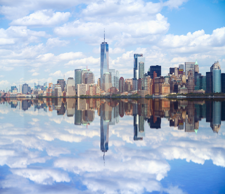New York city Lower Manhattan skyline with reflection Stock Photo