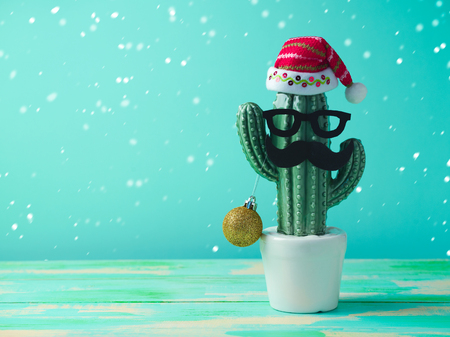Christmas in tropical climate concept. Cactus as hipster christmas tree with santa hat 스톡 콘텐츠