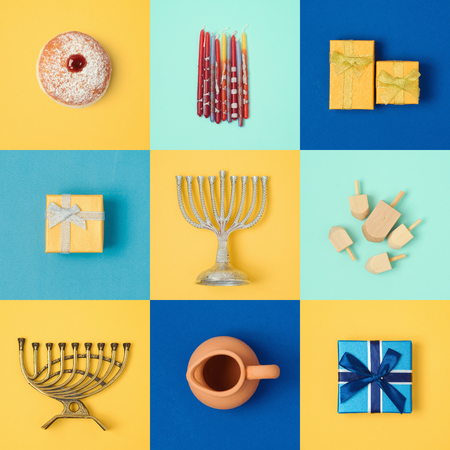 Jewish holiday Hanukkah banner design with menorah, gift box, dreidel and sufganiyot. View from above. Flat lay Stockfoto