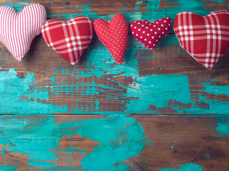 Valentines day vintage background with heart shapes. Top view