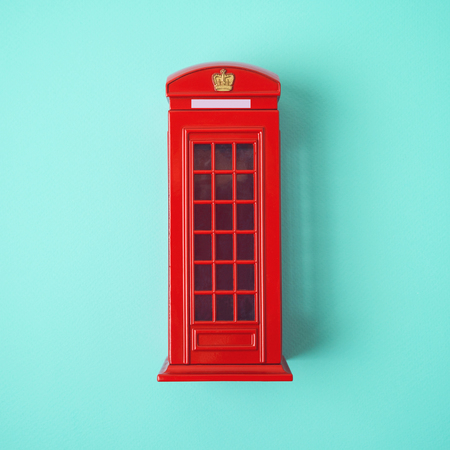 London red telephone booth on blue background. Top view from above 写真素材