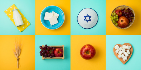 Jewish holiday Shavuot concept with milk, dairy products and fruits. Top view from above 写真素材