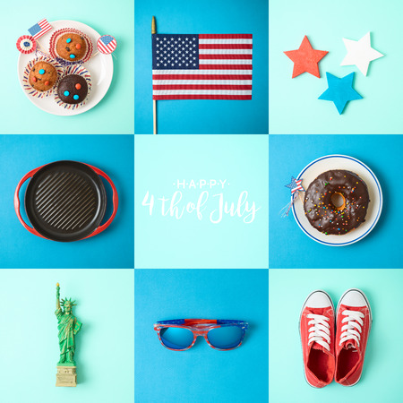 Happy Independence Day, 4th of July celebration concept with cupcakes, donuts and american flag. Top view from above 写真素材