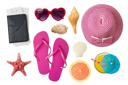 Summer holiday vacation concept with beach and travel accessories isolated on white background. Top view from above 写真素材