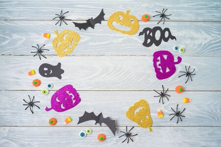 Halloween holiday party background with pumpkin funny characters. Top view from above. Flat lay Stok Fotoğraf
