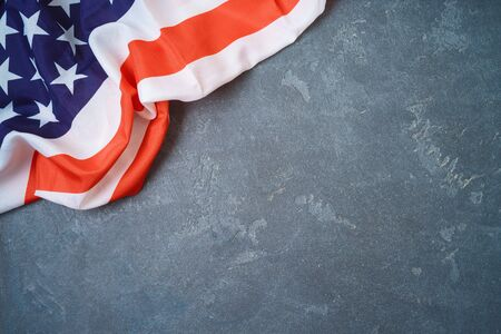 USA flag. over blackboard background Top view from above