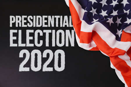Presidential Election 2020 background with chalkboard and USA flag