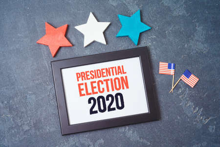 Presidential Election 2020 background with photo frame, stars and USA flag 免版税图像