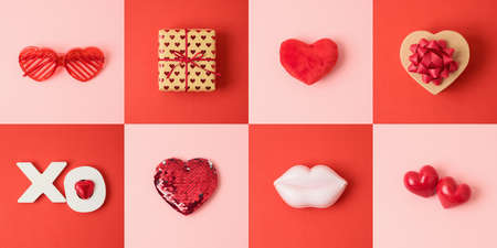 Valentine's day holiday concept with gift box and heart shape on pink and red background 免版税图像