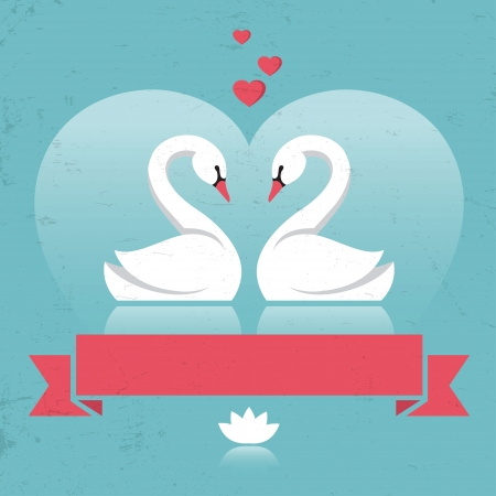 Retro card with two swans and hearts in vector Vector
