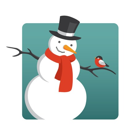 smily: Vector illustration of snowman with a bullfinch Illustration
