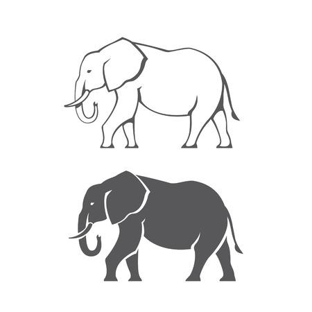 elefante: Dos siluetas de elefantes negros en vector Vectores
