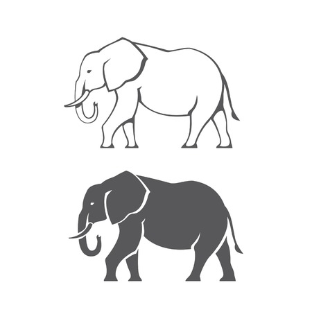 asian elephant: Two black elephant silhouettes in vector