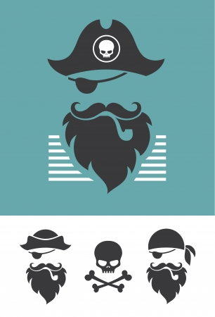 pirate captain: Pirate head symbols with skull and crossed bones Illustration