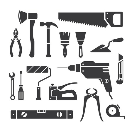 staplers: Set of repair tools icons in vector