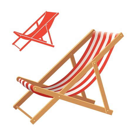 vector chair: Two deck chair vector illustrations. Realistic and silhouette