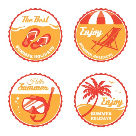 vector chair: Four round summer labels with deck chair, flip flops, scuba mask and palm tree in vector