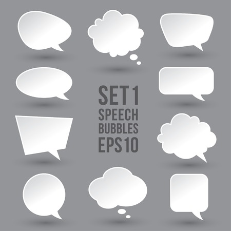White speech bubbles set